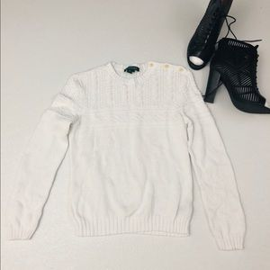 Ralph Lauren preppy white cable knit boxy sweater